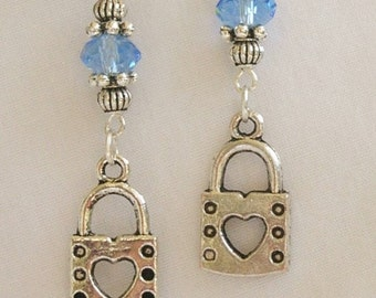 "Heart Lock with light blue crystal 2. 5""  long silver dangle lever back  earrings"