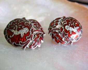 Siam Silver Earrings, Red, Screw-on, Vintage -  Silver Earrings, Red Enamel