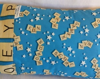 "Scrabble 100 percent cotton travel pillowcase 12""x 16 """