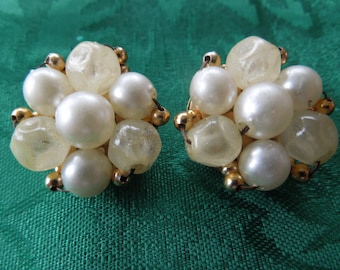 Vintage Clip Earrings, signed Hong Kong.  Faux Pearl Cluster Type in Nice Condition.