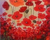 Original Poppies Painting Acrylic Abstract - Red Poppy - Poppies Painting Flowes Canvas Palette Knife - Abctract Poppies - Ready To Hang