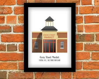 Baltimore (Maryland) Print - Cross Street Market, Federal Hill