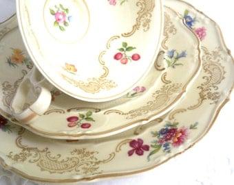 vintage tea cup trio german porcelain tea cups german teacup vintage tea set Weimar tea cup tea party  876