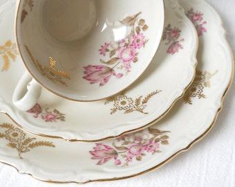 vintage tea set tea cup trio german porcelain Mitterteich teacup shabby chic pink flowers floral tea cup 812