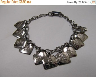 On Sale Vintage Silver Tone Ten Commandments Bracelet Item K # 1580