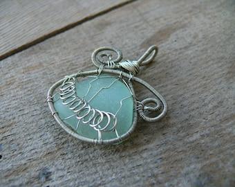 Wire wrapped pendant, Spiral sea glass jewelry, sea glass pendant, Birthday gift, beach glass pendant, silver copper wire, aqua sea foam
