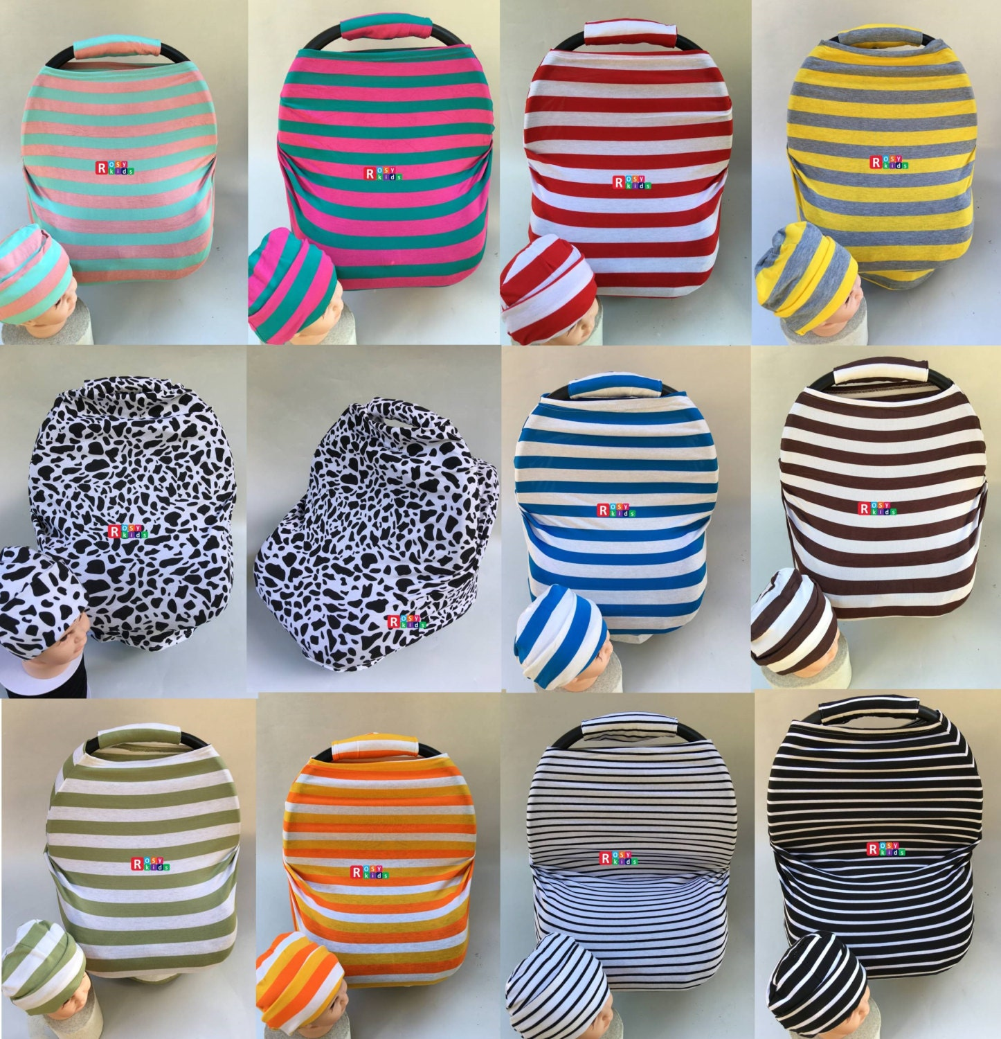 car seat canopy cover / nursing scarf, baby beanie, high chair