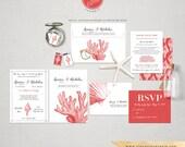 Seashells Coral Nautical Beach Destination Wedding Invitation RSVP Info card set Classic Elegant Invitations red coral invites