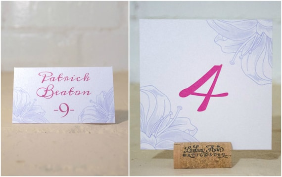 Lily Table Number Cards and/or Place Cards, Floral Table Cards and Escort Cards, Pink and Purple Wedding Reception Decorations