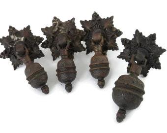Antique Hardware 4 Drawer Pulls Bronze Knobs for Furniture Pulls