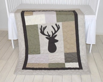 Deer Boy Bedding,  Deer Crib Quilt,  Antler Baby Blanket, Deer  Head  Blanket,  Green, Beige, Brown, Cream