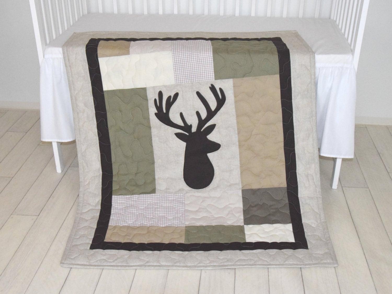 Deer Boy Bedding Deer Crib Quilt Antler Baby Blanket Deer