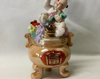 Vintage Oriental Lucky Baby in Pot with Longevity Peach Chinese Buddah Child