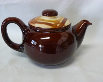 Vintage Butterscotch Teapot Metlox, Vernonware Division 1960's Pattern Mid-Century Rare Hard to Find California Pottery