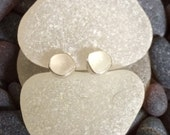 White Sea Glass Stud Earrings Sterling Silver