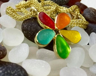 18k Gold, Handmade Chain Necklace with Red, Orange, Yellow, Green, Turquoise Sea Glass Flower Pendent