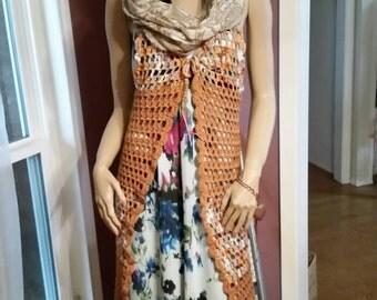Crochet Boho Long Vest