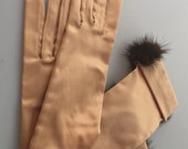 Vintage MINK  Gloves Gold SATIN Long Gloves 1950s /60s Vintage Gloves EVENING Gloves Opera Gloves Stretch