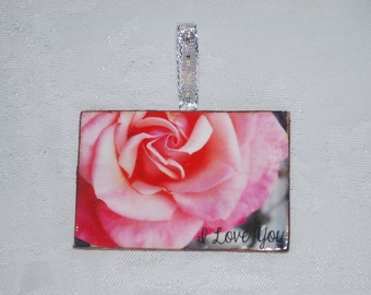 wood photo Christmas Tree Ornament, pink rose, I love you