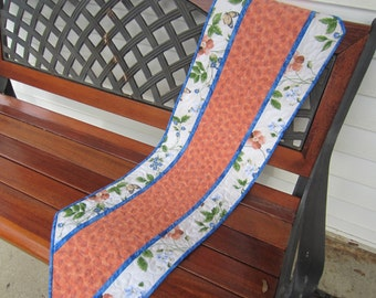 Flowers and butterflies.  Spring table runner.  Quilted table runner.