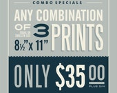 "3 - 8.5"" x 11"" Prints Combination"