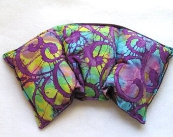 Neck Heating Pad Corn Heat Pack for Hot Cold Therapy Warming Cooling Bag Batik Fabric Purple Fleece Gift under 20 for Women