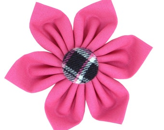 Hot Pink and Black Plaid Dog Flower/ Pink Plaid Collar Flower: Lassie Flannel