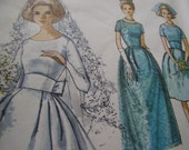 Vintage 1960's Simplicity 5342 Wedding or Bridesmaid's Dress Sewing Pattern, Size 14, or 16 Available