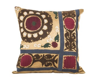 18 x 18 Pillow Cover Suzani Pillow Vintage Suzani Pillow Hand Embroidered Pillow Uzbek Suzani Pillow FAST SHIPMENT with ups or fedex - 07567