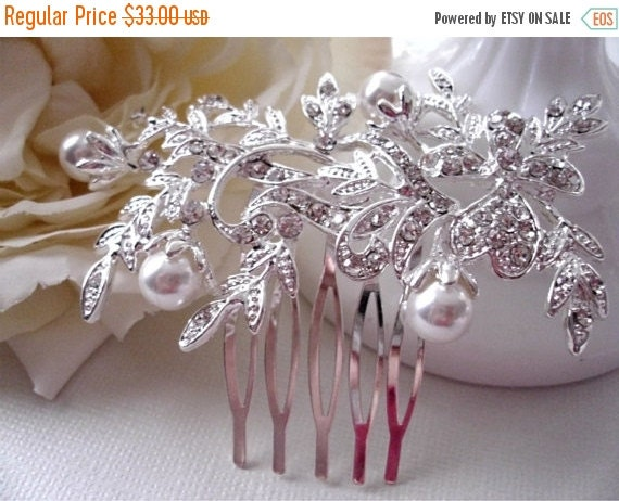 ON SALE Pearl and Swarovski Crystal Floral Hair Comb.  Wedding, Prom, Bridal.