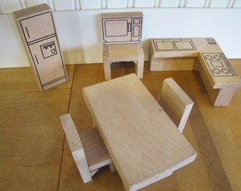 Vintage Modern Birch Dollhouse Kitchen Set, Kitchen Creative Playthings Style, Refrigerater, Stove, Table, Chair, Dollhouse, Furniture, MCM,
