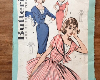 Butterick 9598 vintage dress pattern 1950s 1960s bust 34 size 14