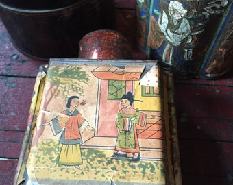 Vintage Tea Tins, Antique Tea Caddy, Tack Kee & Co, Jasmine Tea, Tao Tea, Tea Box, Paper Label Tin, Canton, Hong Kong, Old Tin, Litho Can