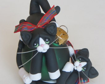 Christmas Ornament Polymer Clay Black White Tuxedo Cats Playing