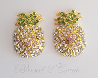 2 Pineapple Rhinestone Embellishments