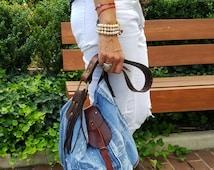 DENIM Bag, Handmade Denim Shoulder Bag, Shoulder Bag, Every Day Bag,Jeans Bag, Denim Tote, Leather Denim Bag, Hobo bag