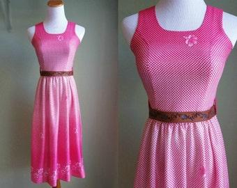 1960's 1970's Pretty Pink Sundress - Vintage 60's 70's Day Dress - XS -