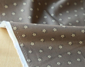 Brown Flowers Cotton Fabric, Floral Cotton Fabric - Digital Printing - Fabric By the Yard 87110