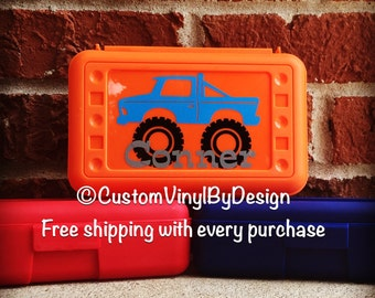 Personalized Pencil Box, Personalized Crayon Box, Boys Pencil Box, Monster Truck Pencil Box, Personalized School Box, Trucks Pencil Box
