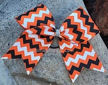 "3"" Width Cheer Bow 7""x7"" Texas Size Cheer Bow Orange Black and White Chevron"