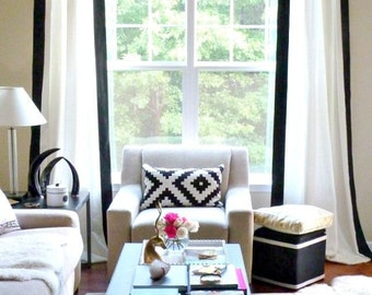 Curtains Ideas black and white panel curtains : Black and white striped curtain panel