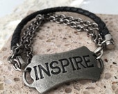 Mens Leather Bracelet, Inspirational, Quote Motivational Jewelry, Positive Affirmation for him, Gift Idea
