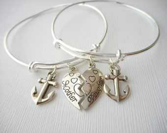 2 mother daughter, Anchor Bangles (Set)/ Mother of the bride gift, Jewelry for mom, Mother and daughter, birthday gift, gift for her