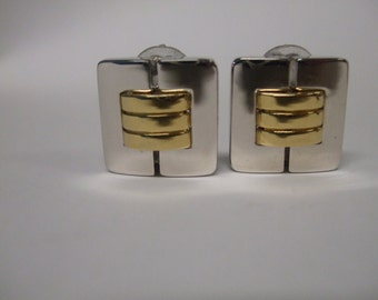 Vintage St. John Clip-on Earrings Gold tone and Silver tone  Metal