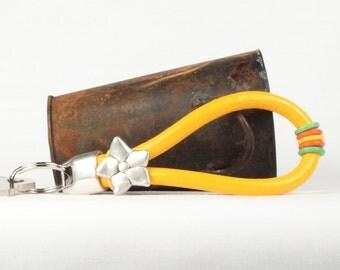 Leather keychain, Yellow key ring, Key holder, Key fob, Silver slider, CarolMade K1
