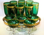 Tiffin Melrose 'GREEN' Franciscan w/Gold Etch #15074, Set of 13 Quality Glassware RARELY FOUND