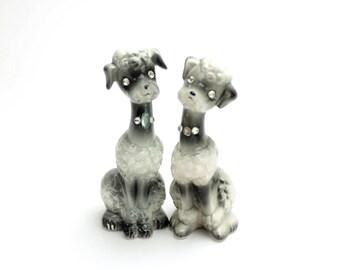 Vintage Poodle Salt and Pepper Shakers, Enesco Poodles, Rhinestone Eyes, Gray, Black Poodles,  1950s Dog Salt Pepper Shakers, Epsteam