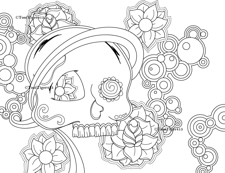Skull Coloring Page Sugar Skull Coloring Page Digital