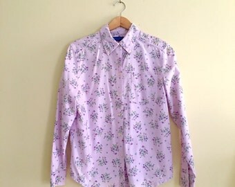 Vintage Lavender Floral Blouse / Pastel Shirt / Long Sleeve 90s Button Down Top