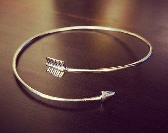 Adjustable Arrow Silver Bangle Bracelet for Country Southern Farm Girl with bow and arrow charm Jewelry Birthday Christmas Gift